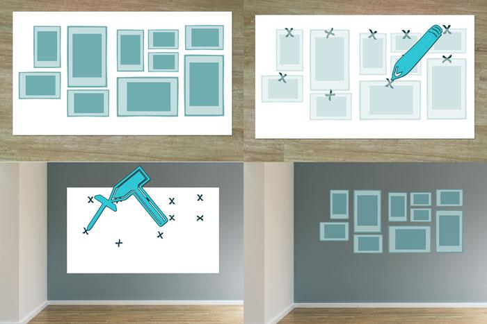 bilder aufh ngen anordnung leicht gemacht anleitung. Black Bedroom Furniture Sets. Home Design Ideas