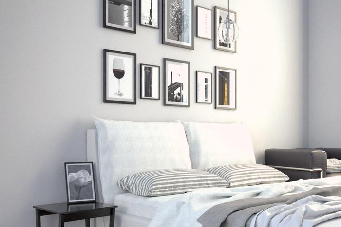 Bilder über dem Bett