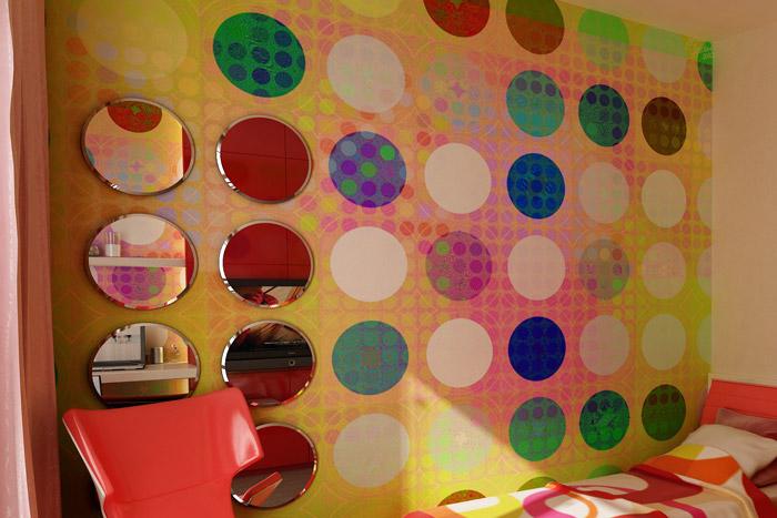 Bunte Wanddekoration im Jugendzimmer
