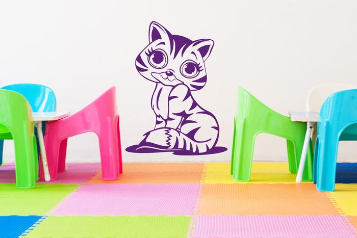 Comic Katze als Wanddeko im Kinderzimmer