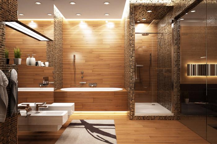 Wände Mit Holz Gestalten - Ideen & Alternativen | Wandtrends Badezimmer Holzwand Bilder