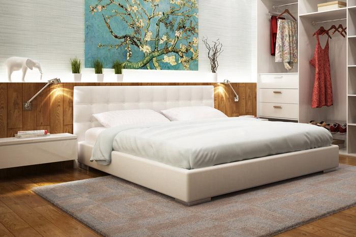 Halbe Holzvertäfelung im Schlafzimmer