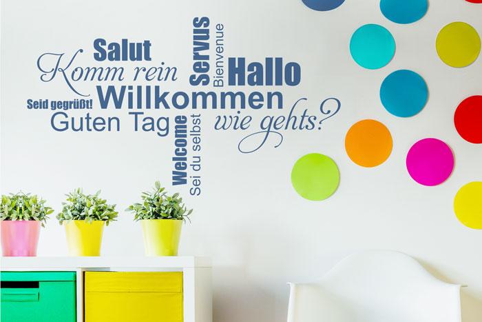 Lustige Wandgestaltung Begrüßung Wortwolke