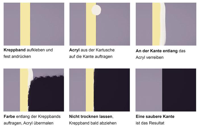 Saubere Kante mit Wandfarbe und Acryl