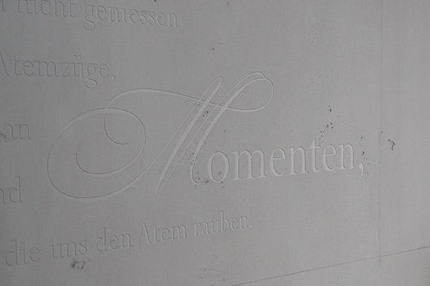 Wandtattoo, eingearbeitet in die Sichtbeton Oberfläche