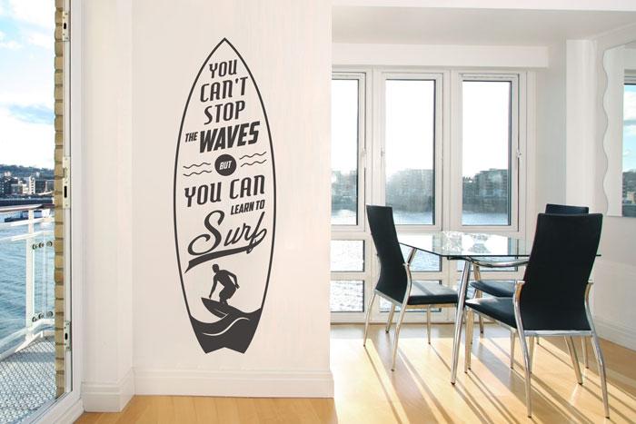 Wandtattoo Surfbrett Stop the waves