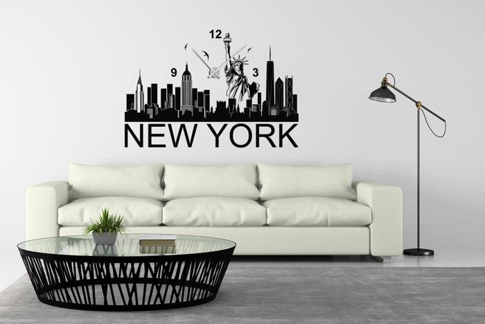 Wandtattoo Uhr schwarz New York