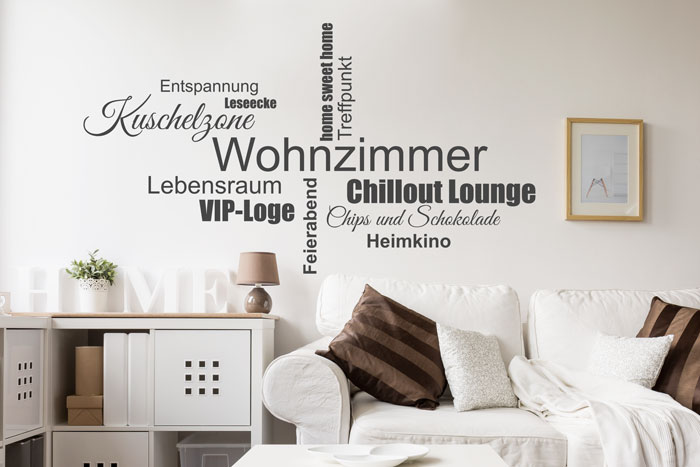 Wortwolke Wohnzimmer Wandtattoo