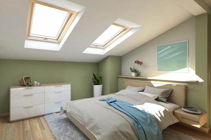 zweifarbige wand mit dachschrge - Tapeten Schlafzimmer Dachschrage