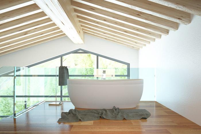 Freistehende Badewanne im Wohnbereich