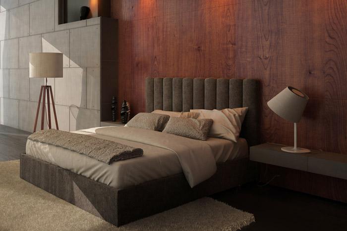 Moderne Holzvertäfelung hinter dem Bett