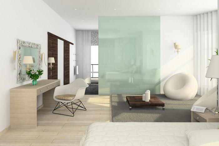 Offener Schlaf- und Wohnbereich mit Galswand