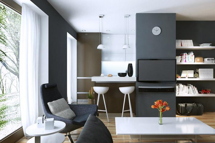 Offener Wohn- und Essbereich in einer kleinen Wohnung