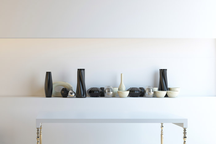 Schwarz weisse Deko mit Vasen