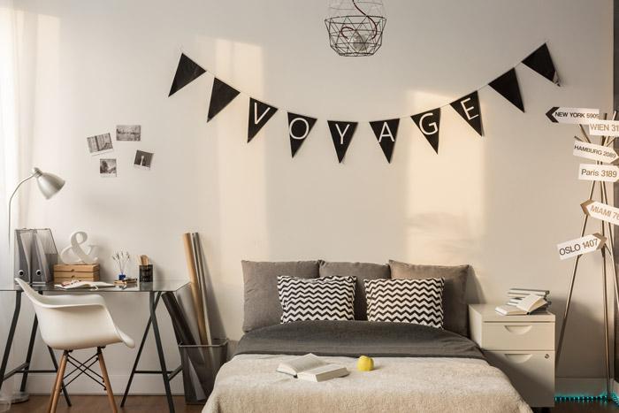 Schwarzweiße Wanddeko im Schlafzimmer