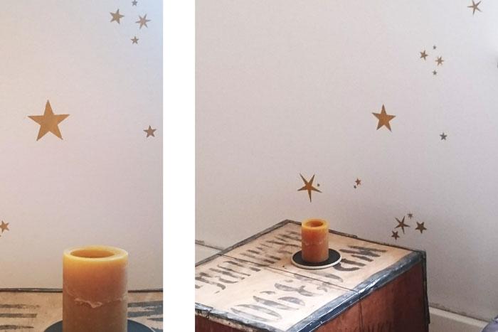 sterne an die wand malen anleitung mit schablone diy tutorial. Black Bedroom Furniture Sets. Home Design Ideas