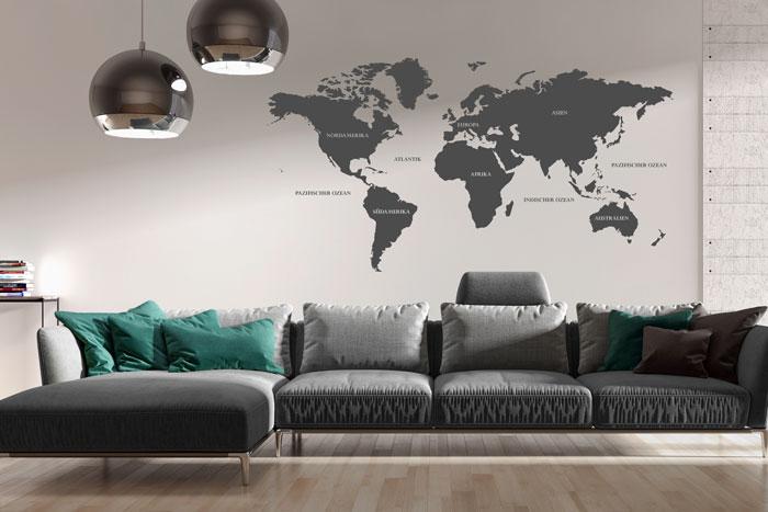 Stylische Weltkarte als Wandtattoo
