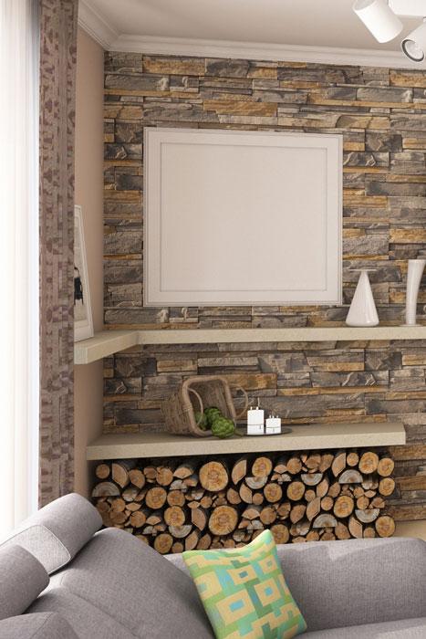 Wandregal mit Steinplatten
