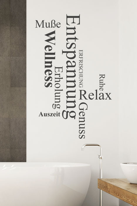 Wandtattoo Wortwolke Entspannung Bad